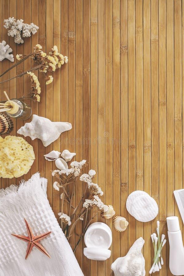 Bathroom set on a wood background. royalty free stock photo