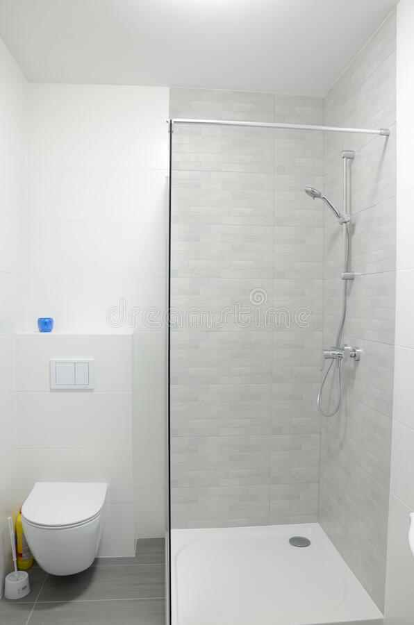 Bathroom with shower and toilet royalty free stock photo
