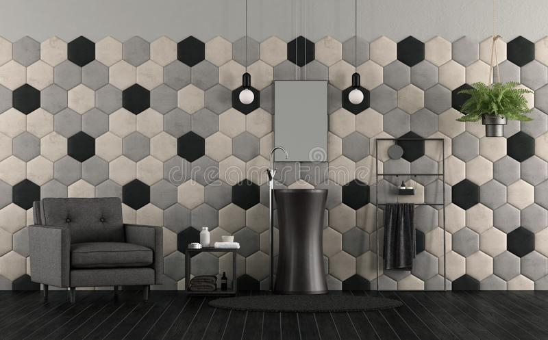 Bathroom with sink and hexagonal tiles. Bathroom with sink , hexagonal tiles and fabric armchair - 3d rendering royalty free illustration