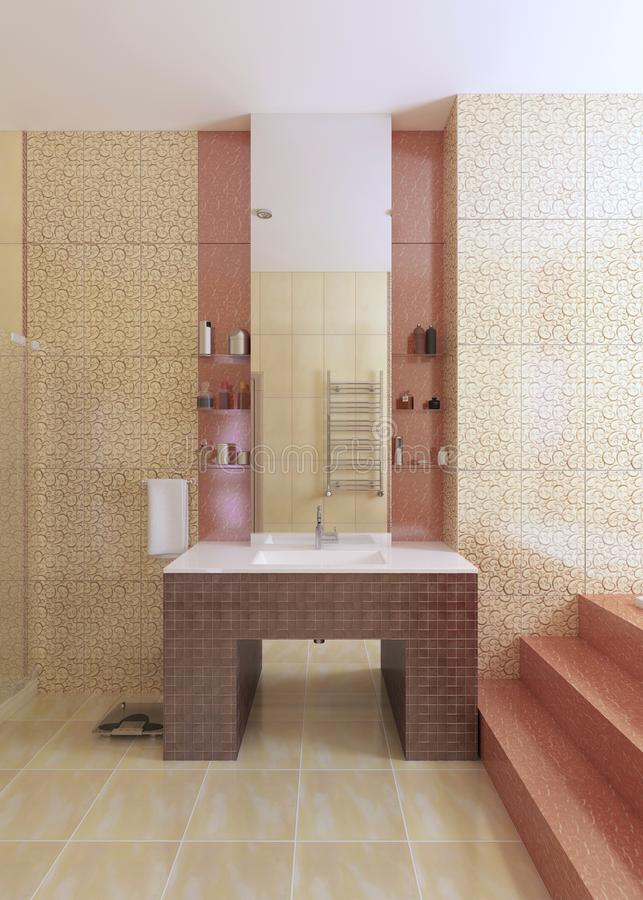 The bathroom sink, made of mosaic burgundy tiles, with a large m. Irror on the yellow wall. 3D rendering stock illustration