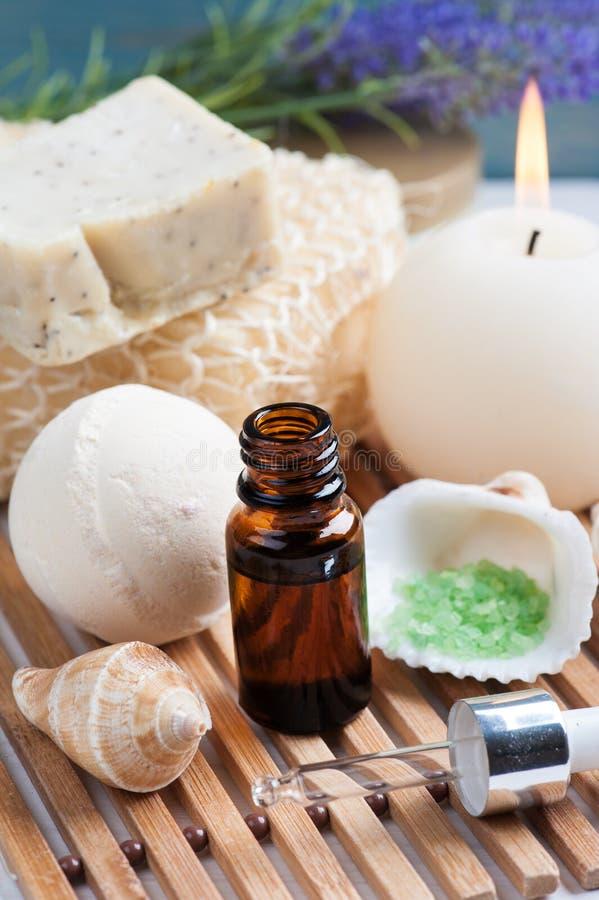 Bathroom SPA set with essential oil, salt stock photo