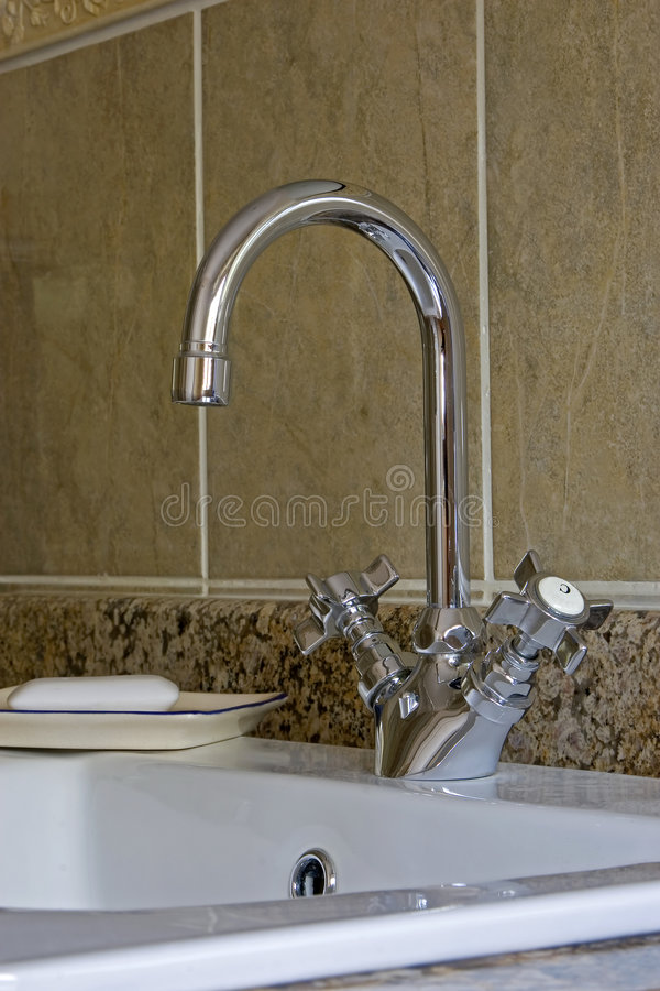Bathroom tap and soap stock images