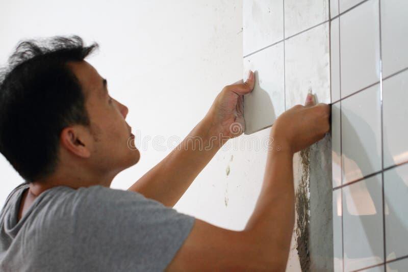 Bathroom tiles renovation royalty free stock photos