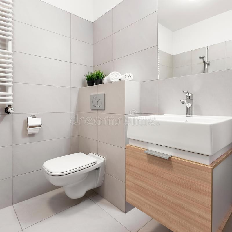 Bathroom with toilet and basin. Bathroom with toilet, mirror and modern basin cabinet and wooden drawer royalty free stock photos