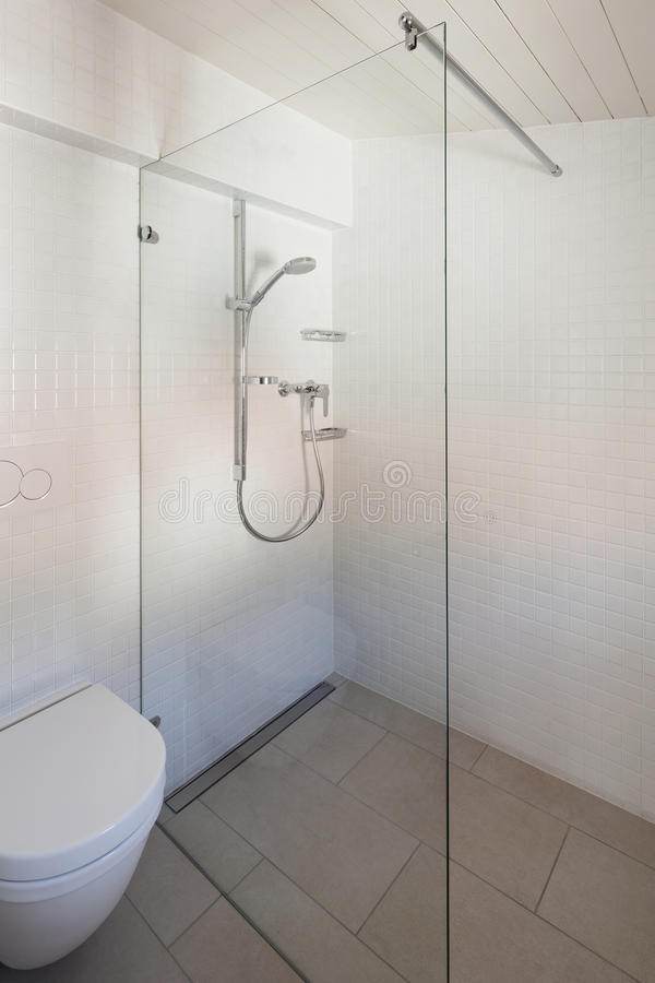 Bathroom, toilet and shower. Architecture, bathroom of old loft, toilet and shower royalty free stock image
