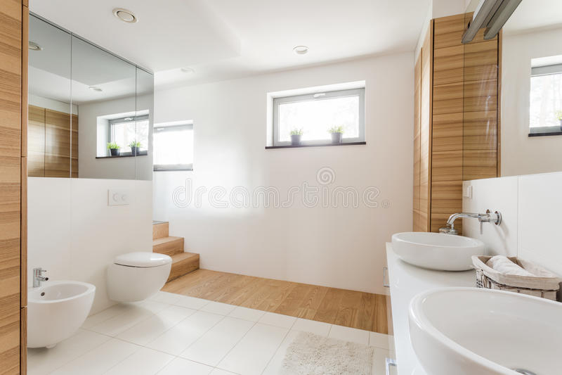 Bathroom with toilet and wide mirrors. Light bathroom with toilet, two sinks, wide mirrors and wainscot stock image