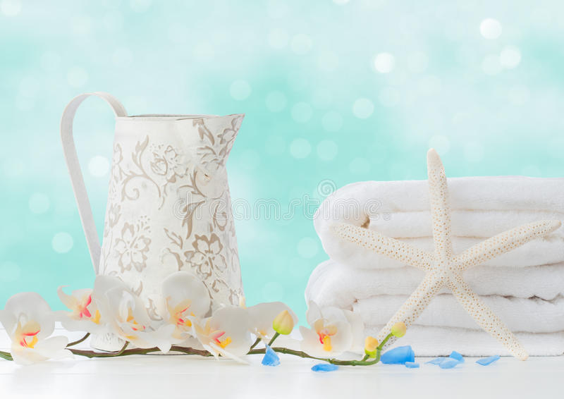 Bathroom Towels. With starfish and white jug royalty free stock images