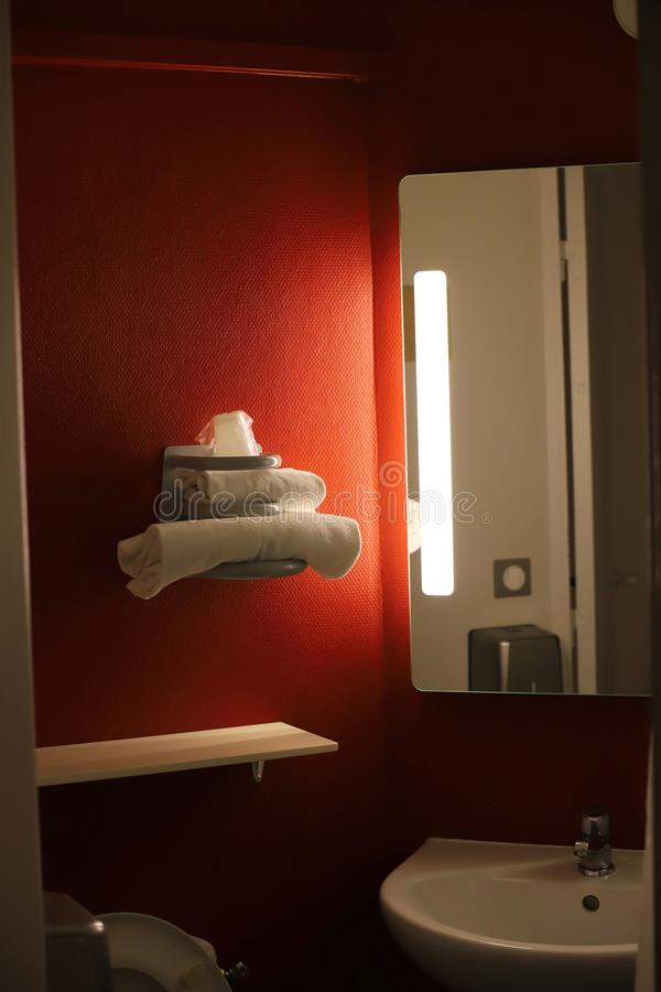 Bathroom with towels in a hotel. Bathroom with towels in a french hotel stock photos