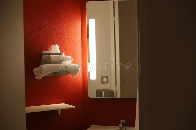 Bathroom with towels in a hotel. Bathroom with towels in a french hotel stock photography