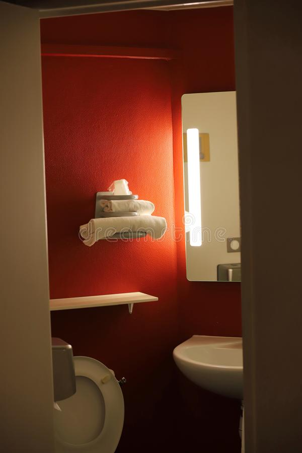 Bathroom with towels in a hotel. Bathroom with towels in a french hotel stock image