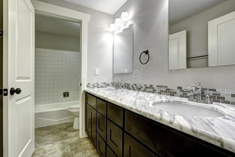 Download Bathroom Vanity Cabinet With White Granite Top Stock Photo    Image: 44716079
