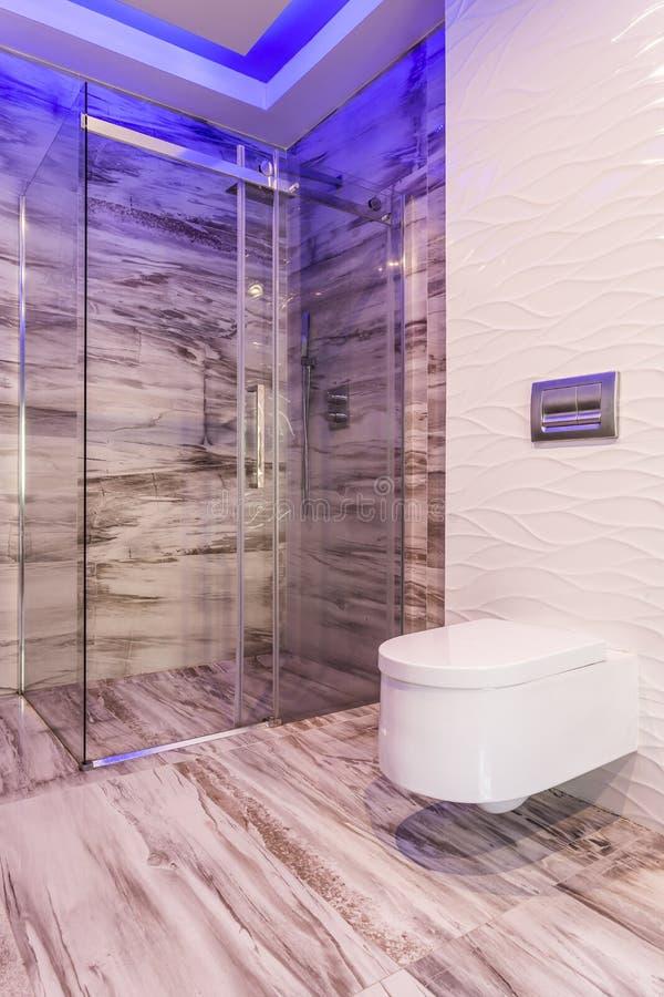 Bathroom with walk in shower idea royalty free stock photos