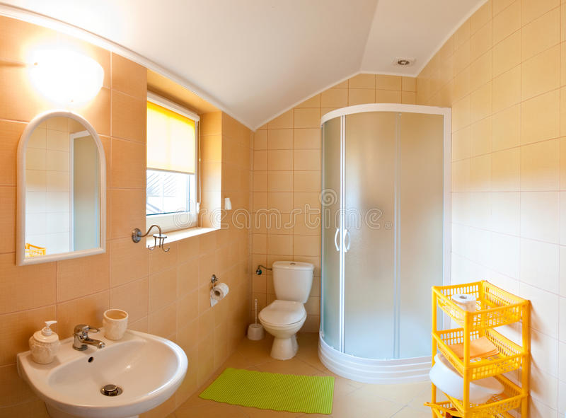 Bathroom wide angle stock photo