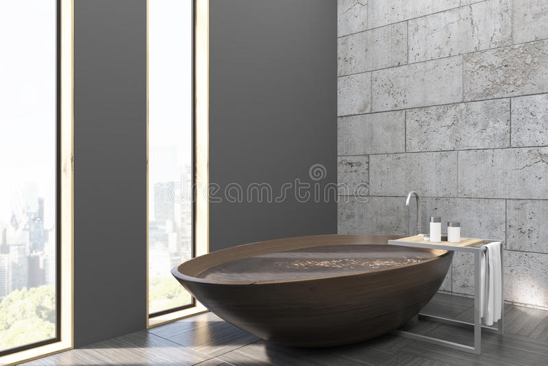 Download Bathroom With A Wooden Tub And City View Stock Illustration - Image: 83722274
