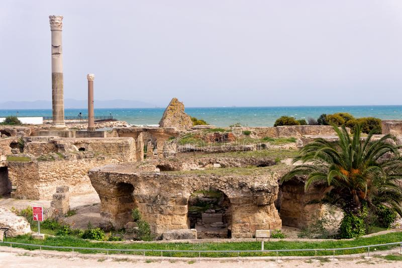 Baths of Antoninus View in Carthage, Tunisia stock photography