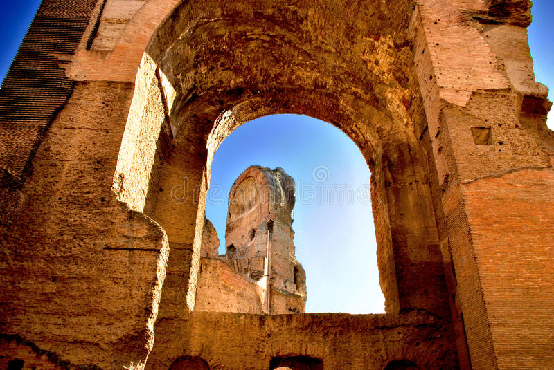 Baths of Caracalla. The Baths of Caracalla (Italian: Terme di Caracalla) in Rome, Italy were Roman public baths, or thermae, built in Rome between AD 212 and 216 stock photo