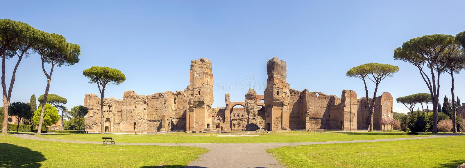 Baths of Caracalla, ancient ruins of roman public thermae. Built by Emperor Caracalla in Rome, Italy stock image