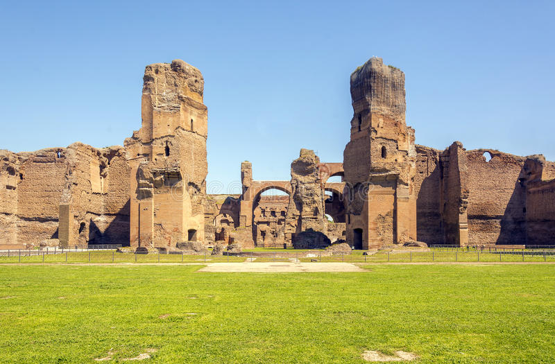 Baths of Caracalla, ancient ruins of roman public thermae. Built by Emperor Caracalla in Rome, Italy stock photo