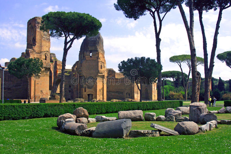 Baths of Caracalla. The ancient baths of Caracalla to the Appian way Rome royalty free stock images