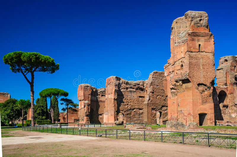 Baths of Caracalla, Rome, Italy. Rome, Italy. Baths of Caracalla, ancient ruins of roman public thermae built by Emperor Caracalla, between 212 and 216AD royalty free stock images