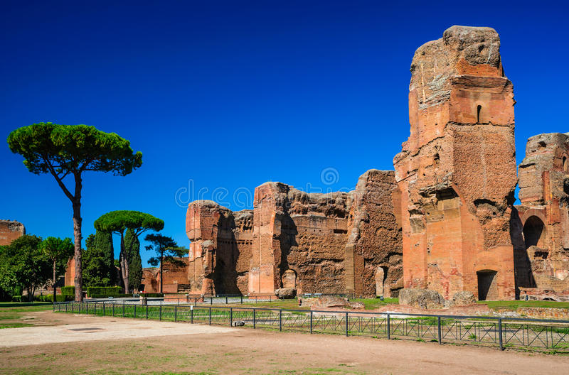 Baths of Caracalla, Rome, Italy. Rome, Italy. Baths of Caracalla, ancient ruins of roman public thermae built by Emperor Caracalla, between 212 and 216AD royalty free stock image
