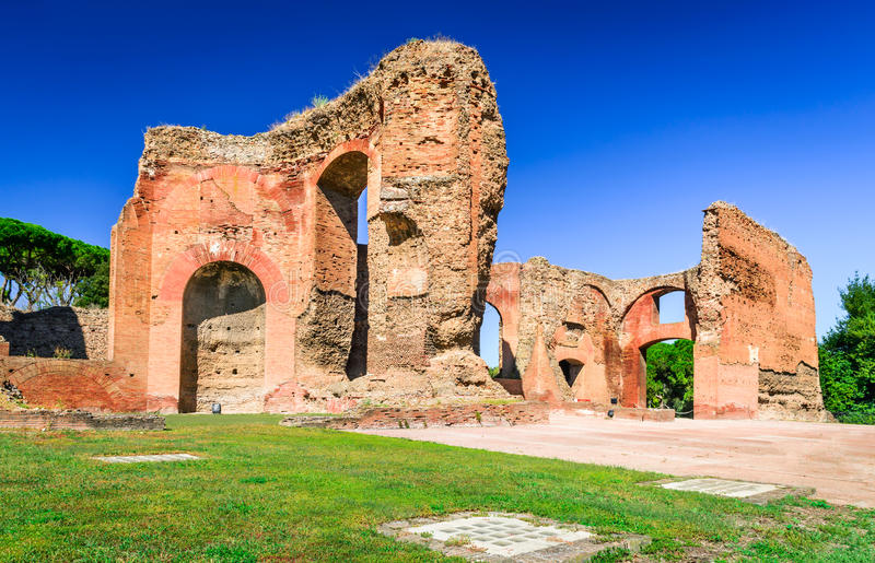Baths of Caracalla, Rome, Italy. Rome, Italy. Baths of Caracalla, ancient ruins of roman public thermae built by Emperor Caracalla, between 212 and 216AD royalty free stock photos