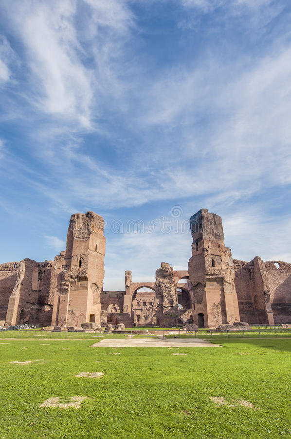 The Baths of Caracalla in Rome, Italy. The Baths of Caracalla (Terme di Caracalla) were the second largest Roman public baths, or thermae, built in Rome, Italy royalty free stock photo