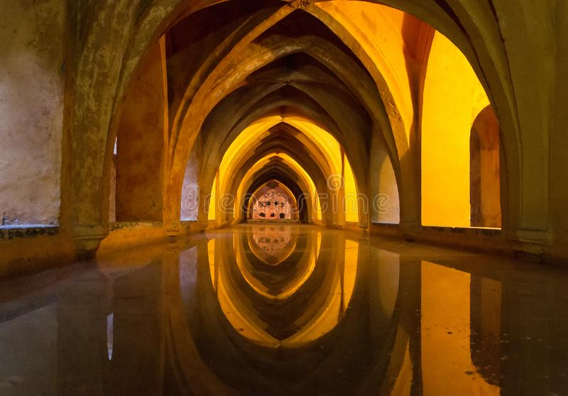 Baths of Dona Maria Padilla in one of the palaces of Alcazar complex in Seville, Spain stock photography