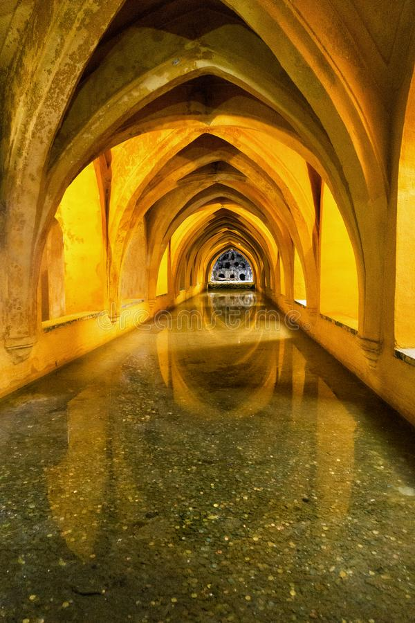 Baths of María Padilla in the Real Alcazar Palace in Seville, Spain stock photo
