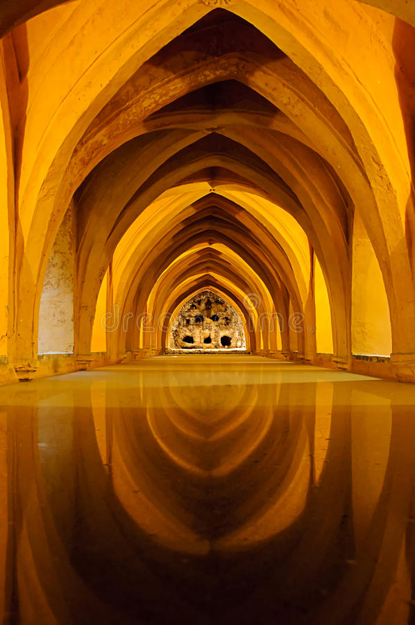 Baths in the Royal Alcazar of Seville, Spain stock images