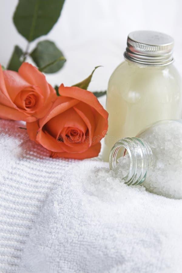 Bathsalt and shower gel stock photo