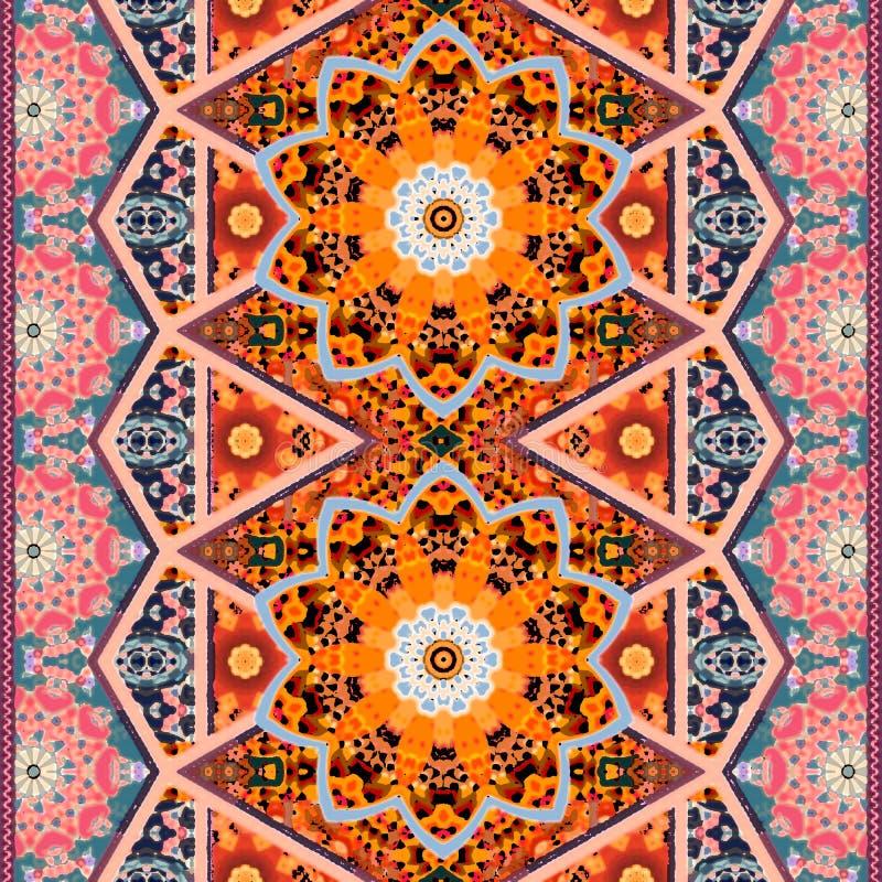 bathsheba Όμορφο αναδρομικό σχέδιο με το mandala, τα λουλούδια και τα διακοσμητικά σύνορα στο ασιατικό ύφος Τυπωμένη ύλη για το ύ απεικόνιση αποθεμάτων