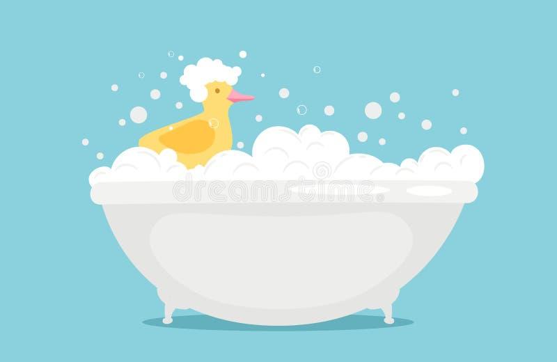 Bathtime wektorowa ilustracja z mydło piankową i żółtą gumową kaczką ilustracja wektor