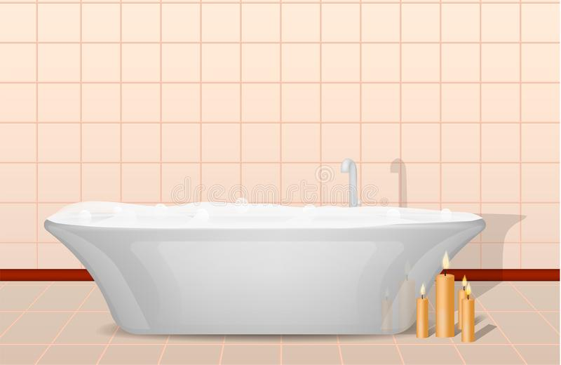 Bathtub and candles concept background, realistic style vector illustration