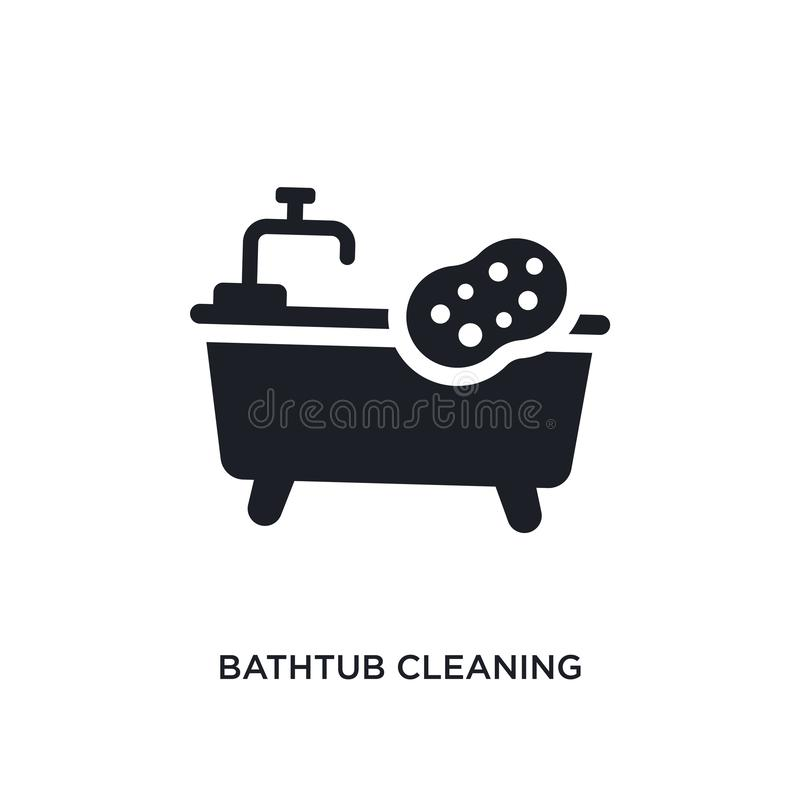 Bathtub cleaning isolated icon. simple element illustration from cleaning concept icons. bathtub cleaning editable logo sign. Symbol design on white background royalty free stock photography