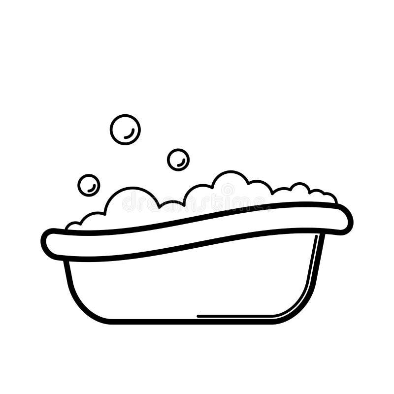 bathtub Icona su un fondo bianco, linea progettazione del bambino illustrazione di stock