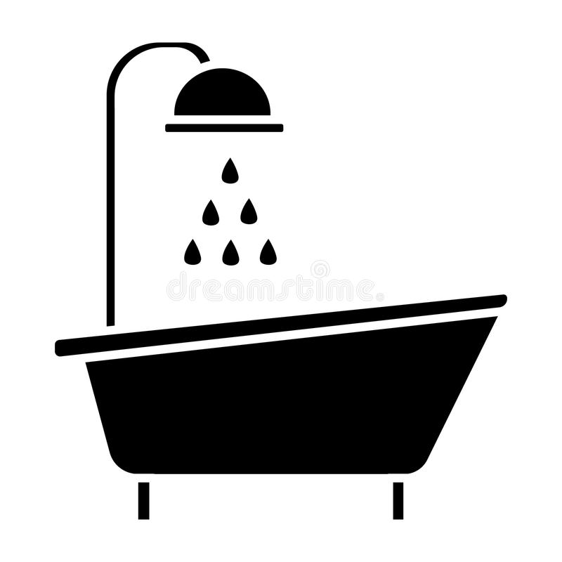 Bathtub Shower Icon, Vector Illustration, Black Sign On