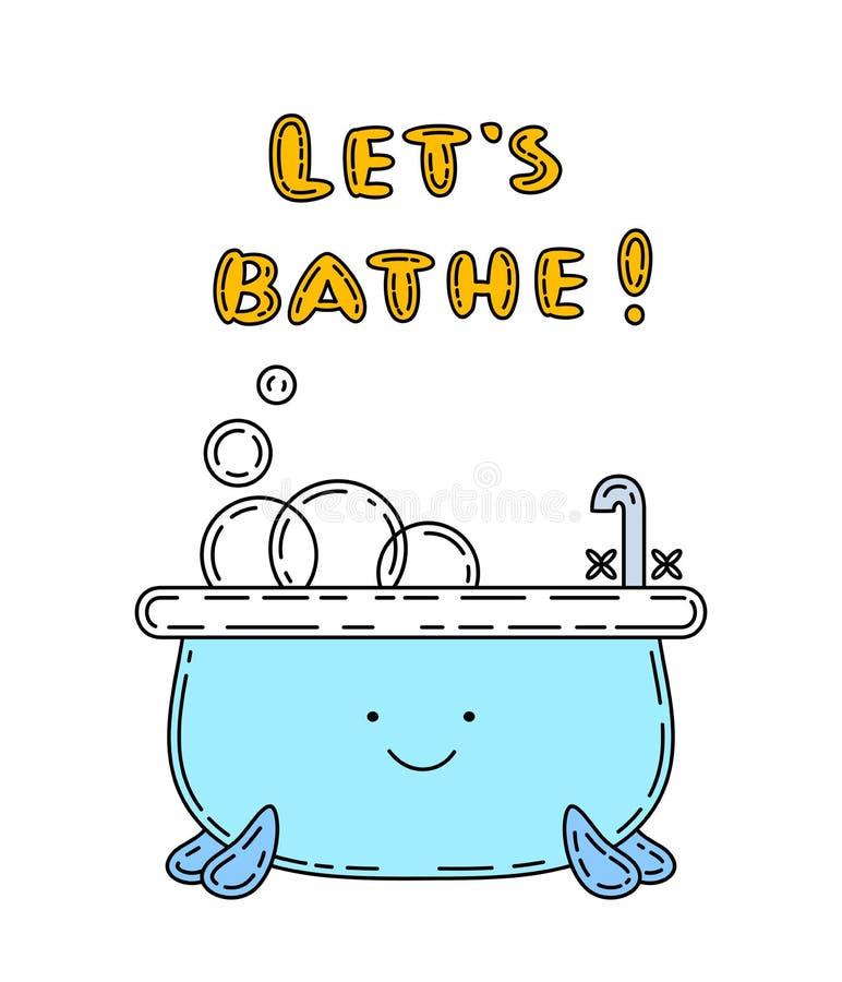 Bathtube乱画例证,逗人喜爱的字符 库存例证