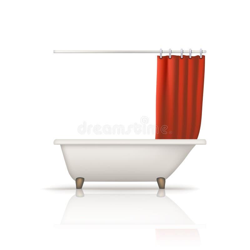 Bathtube röd gardin vektor illustrationer