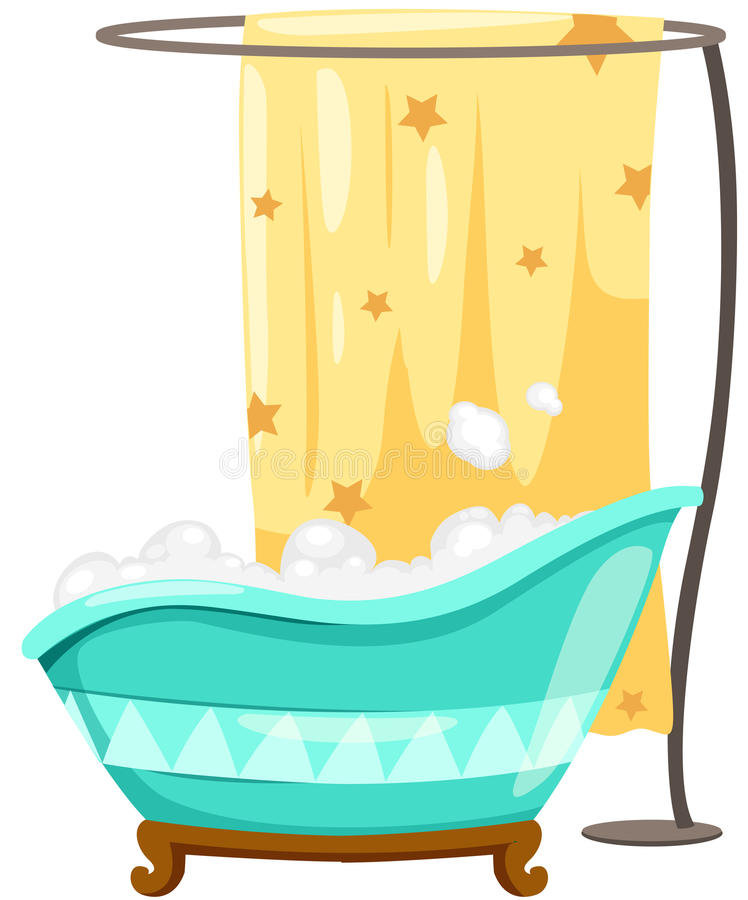 Download Bathtube With Shower Curtain Stock Vector - Image: 24002534