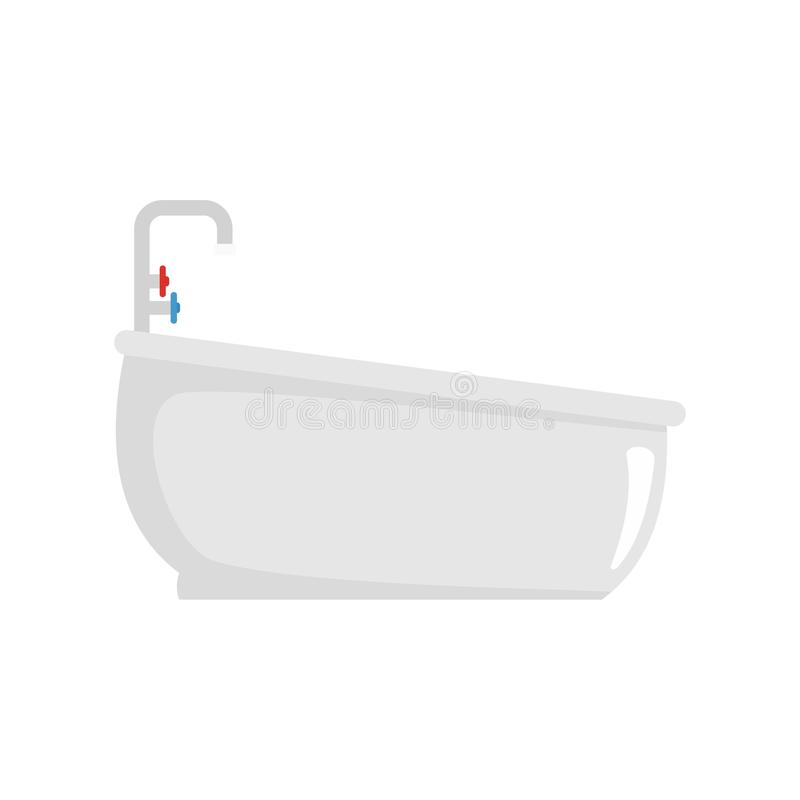 Bathtube with water tap icon, flat style. Bathtube with water tap icon. Flat illustration of bathtube with water tap icon for web isolated on white vector illustration
