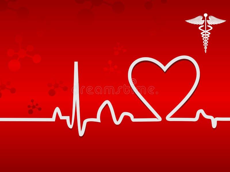 Batida de coração no indicador em um fundo vermelho ilustração stock