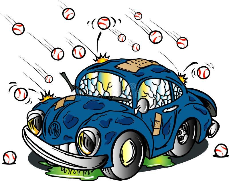 Batida do carro pela saraiva ilustração do vetor