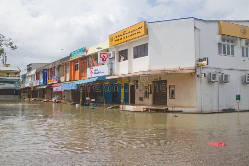 Batidas comerciais da área pela inundação imagens de stock