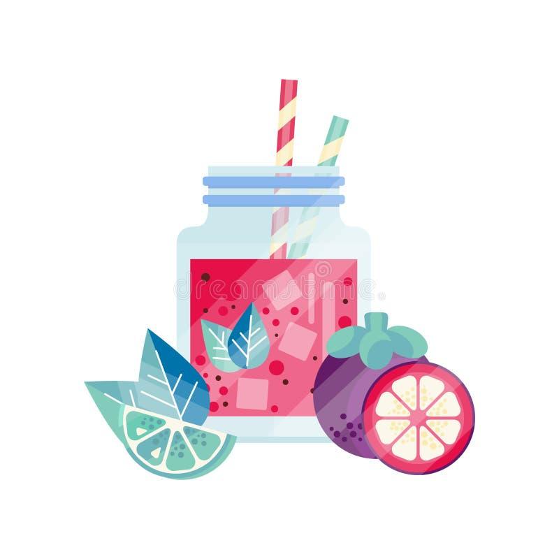 Batido com cal, toranja e mangustão Bebida natural do vegetariano Cocktail de refrescamento no frasco de vidro com cubos de gelo ilustração do vetor