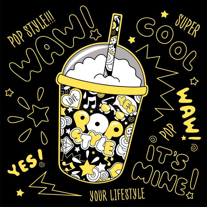 Batido de leche abstracto del arte pop Vidrio de la bebida Forme el dibujo del ejemplo en el estilo moderno para la ropa Dibujo p libre illustration