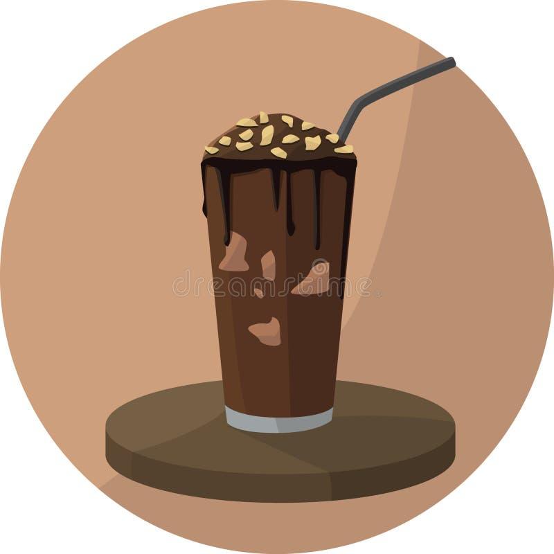 Batido de leche del chocolate con algunas nueces stock de ilustración