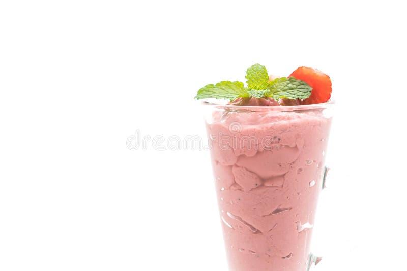 Batido de leche de los smoothies de la fresa imagen de archivo libre de regalías