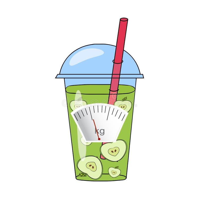 Batidos desenhados à mão e skales O conceito da perda de peso, hea ilustração stock