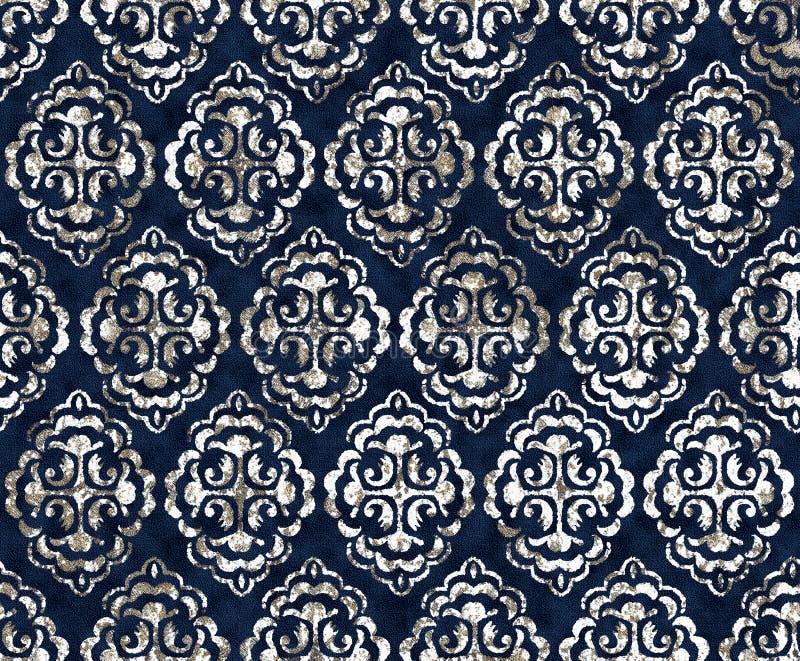 Batik damask tie dye texture repeat modern pattern. Texture repeat modern pattern with tie dye effect royalty free illustration